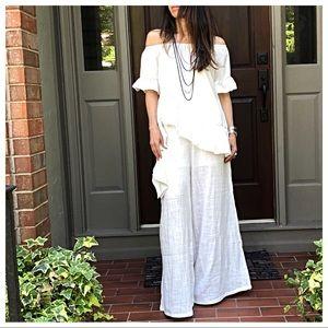 Pants - ✨RESTOCKED✨Off white gauze wide leg palazzo pants